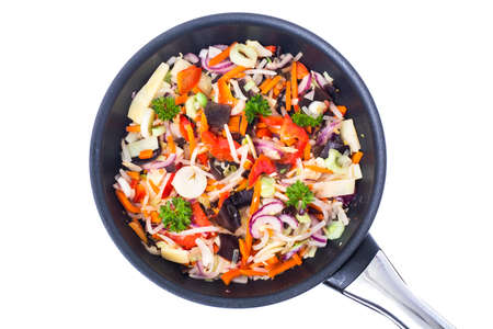 Fried mixed vegetables with mushroom mun, bamboo shoots and soyb Stock Photo
