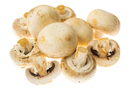 unwashed: Fresh unwashed champignons on white background. Stock Photo