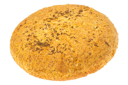 dietary fiber: Homemade bread with caraway seeds on white background.