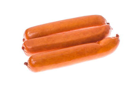 dry sausage: Small smoked sausages on white background.