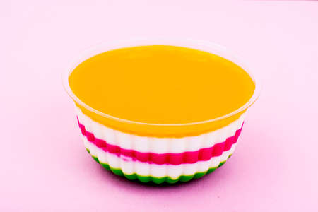 pannacotta: Milk fruit jelly on bright background. Stock Photo