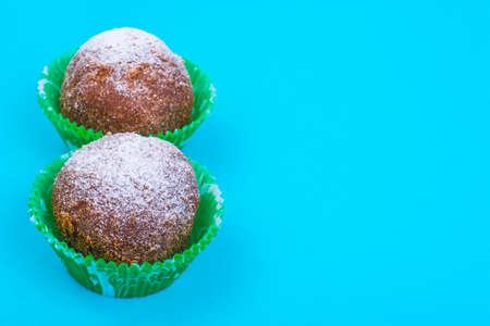 Sweet rum truffle cake on pastel background. Stock Photo