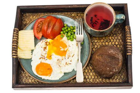 plato del buen comer: Breakfast. Wooden tray with dishes Foto de archivo