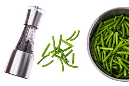 sauteed: Asparagus beans in metal bowl. Studio Photo