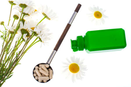 Chamomile pharmacy-natural vitamins in tablets and capsules