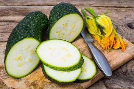 Sliced fresh zucchini in diet