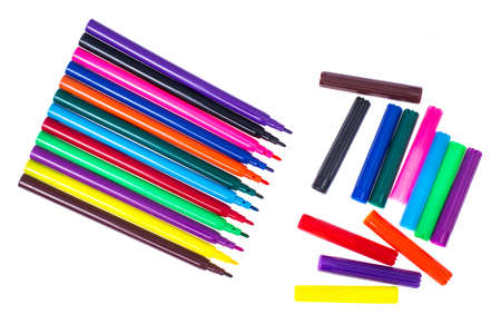 Multicolored markers on white Stock Photo