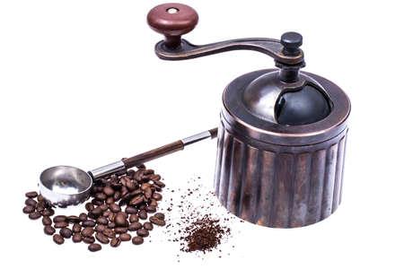 Manual mechanical metal coffee grinder Stock Photo