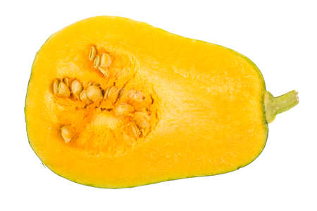 Muscat pumpkin, cut in half, isolated on white background