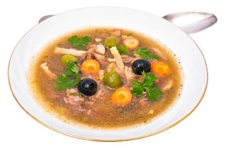 Vegetable soup with meat and olives