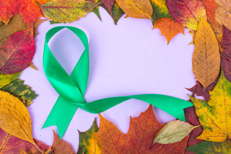 Colored ribbon-symbol of awareness of oncological diseases Stock Photo