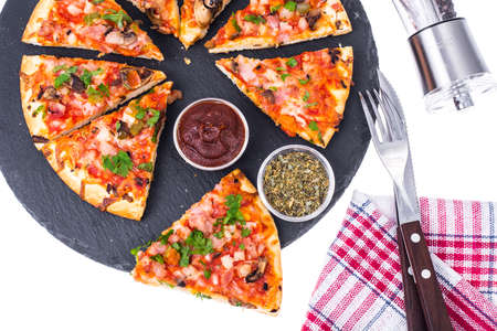 Pizza prosciutto with mushrooms and ham Stock Photo