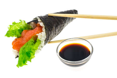 Sushi with salmon of cone. Studio Photo  Stock Photo