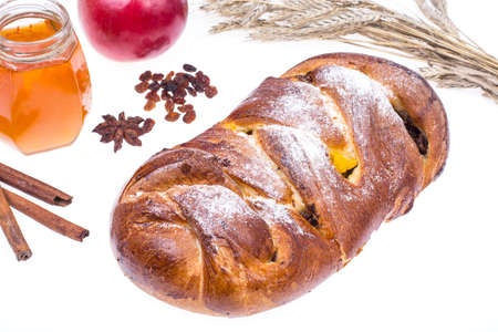 Challah, apple and honey-illustration Rosh Hashanah (Jewish New Year) on white background. Studio Photo