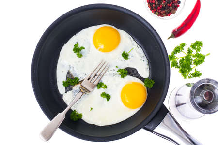 Two fried eggs on frying pan