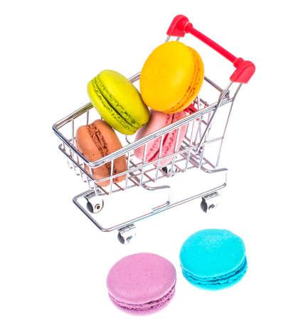 Macaroons in metal shopping basket