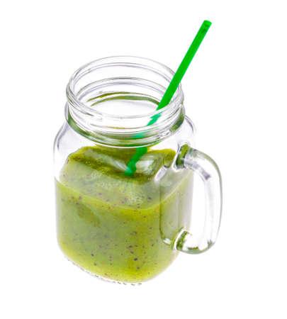 Freshly squeezed juice kiwi on white background Stock Photo