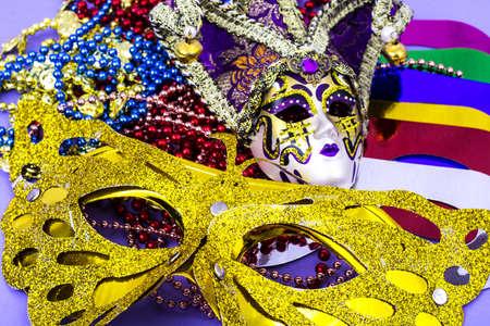 Celebration of mardi gras. Venetian, carnival, masquerade mask, beads