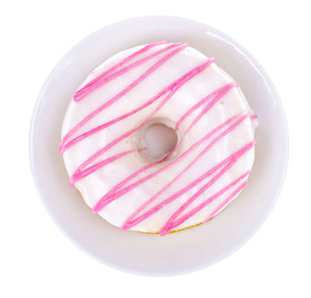 Delicious donut with white pink glaze on light background