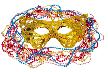 Masquerade accessories for Mardi Gras parties. Studio Photo
