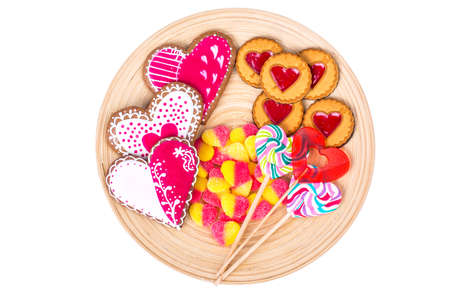 Sweets, gingerbread, lollipops, cookies for Valentines Day