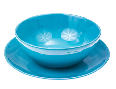 Blue shallow bowl and plate Stock Photo