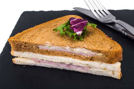 Sandwich with ham and cheese from wheat and rye bread Stock Photo