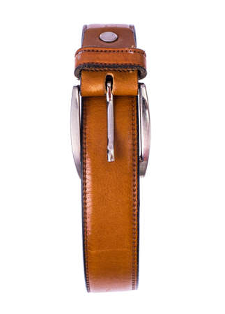 Brown trouser belt, isolated on white background. Studio Photo Stock Photo