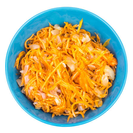 Spicy salad of pumpkin, carrot, onion