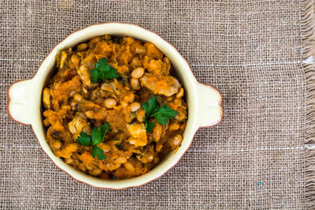 Cassoulet of beans and vegetables. Studio Photo