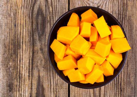 Pieces of pumpkins cut into cubes. Studio Photo