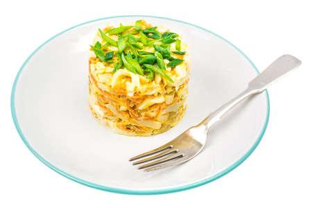 Pork salad with squid on plate. Studio Photo
