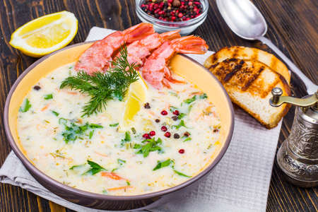 Bisque soup with shrimps Stock Photo