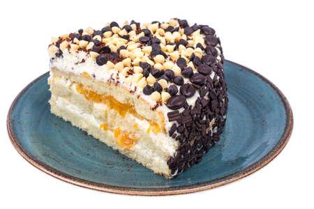 Piece of low-calorie fruit cake. Healthy dessert