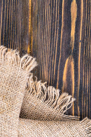 Sackcloth texture on wooden table