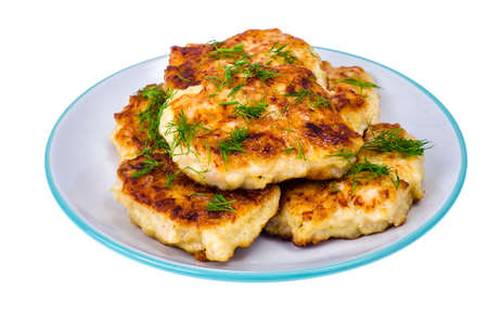 Plate with meat fritters, cutlets