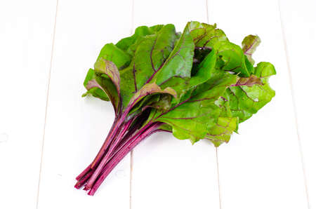 Bunch of green beet leaves.