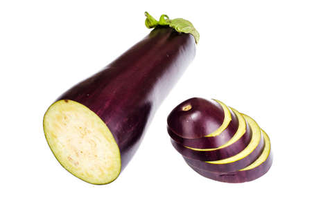 Ripe, raw, sliced eggplant slices. Studio Photo