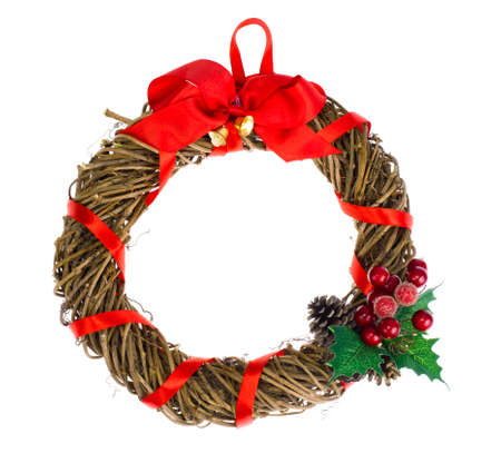 Christmas wreath of natural twigs Stock Photo