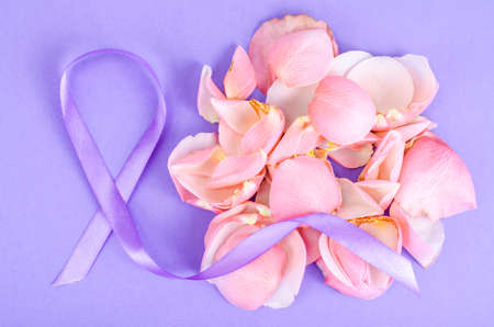 Lavender color ribbon, symbolizing awareness for all cancers, february 4th, world cancer day. Studio Photo