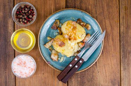 Cepelinai Potatoes with meat gravy. Studio Photo