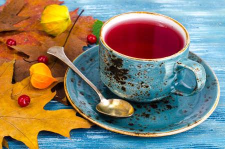 Mug of hot herbal red tea. Studio Photo