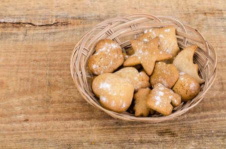 Homemade handmade baby gingerbread cookies. Studio Photo Stock Photo