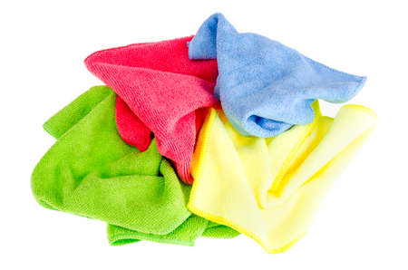 Colored microfiber cleaning cloths. Studio Photo