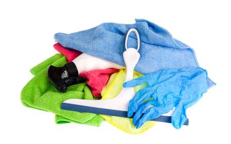 Multicolored scouring sponges, cleaning cloths. Studio Photo Foto de archivo - 117581334