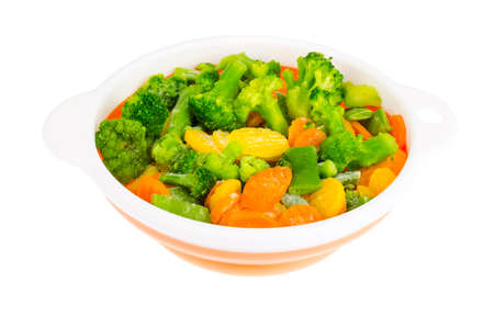 Mix of bright frozen vegetables for cooking. Studio Photo