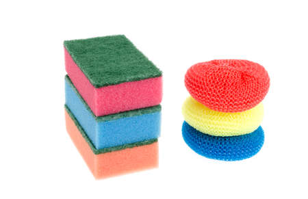 Colored washcloths for cleaning dishes. Studio Photo