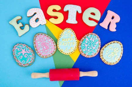 Creative layout, Easter homemade cakes on bright background, copy space. Studio Photo