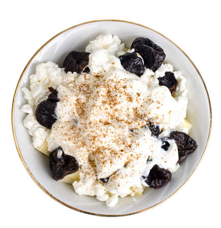 Cottage cheese, fruits, prunes. Health food. Studio Photo Stok Fotoğraf