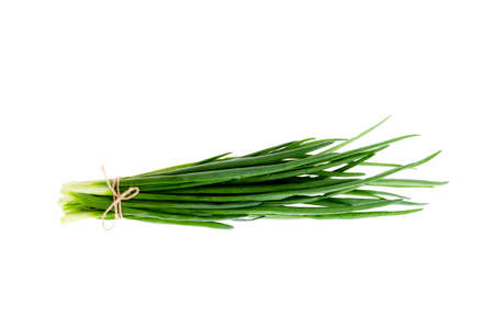 Bunch of fresh green onions isolated on white background. Stock Photo